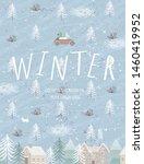 winter. vector cute... | Shutterstock .eps vector #1460419952