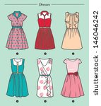 set of six white dresses on... | Shutterstock .eps vector #146046242