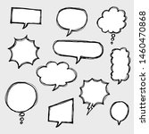 set of hand drawn comic bubble... | Shutterstock .eps vector #1460470868