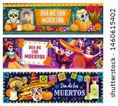 dia de los muertos skulls and... | Shutterstock .eps vector #1460615402