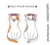 Stock vector best friends forever couple of cute cartoon cats hand drawn illustration 1460673395