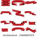 red ribbon set inisolated white ...   Shutterstock .eps vector #1460681015