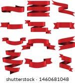 red ribbon set inisolated white ... | Shutterstock .eps vector #1460681048