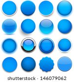 set of blank blue round buttons ... | Shutterstock .eps vector #146079062