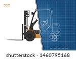 outline blueprint of forklift.... | Shutterstock . vector #1460795168