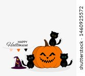 halloween background with cute... | Shutterstock .eps vector #1460925572