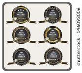 set of black gold framed labels ... | Shutterstock .eps vector #146093006