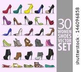 30 women shoes vector set | Shutterstock .eps vector #146096858