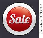 sale button. red round sticker. ... | Shutterstock . vector #146097446
