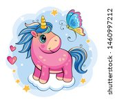 beautiful pink unicorn in the... | Shutterstock .eps vector #1460997212