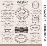 retro vintage calligraphic...   Shutterstock .eps vector #146099795