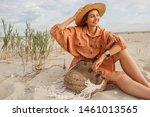 romantic  portrait of smiling... | Shutterstock . vector #1461013565
