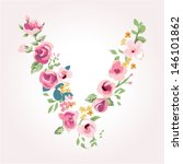vector flower font capital v | Shutterstock .eps vector #146101862