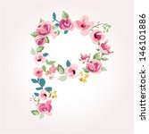 vector flower font capital p | Shutterstock .eps vector #146101886