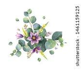 watercolor hand painted bouquet ...   Shutterstock . vector #1461159125