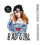 bad girl slogan with... | Shutterstock .eps vector #1461175898
