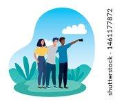 young interracial friends...   Shutterstock .eps vector #1461177872