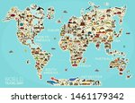 World Travel Line Icons Map. ...