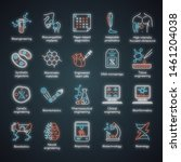 bioengineering neon light icons ... | Shutterstock .eps vector #1461204038