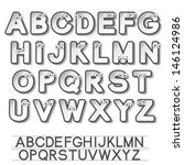 vector paper font alphabet with ... | Shutterstock .eps vector #146124986