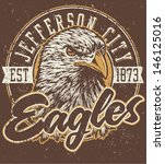 Постер, плакат: Retro Eagles athletic design