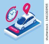 isometric car rental concept.... | Shutterstock .eps vector #1461303905