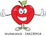 happy red apple character...