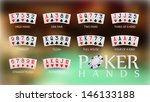 poker hand rankings symbol set  | Shutterstock .eps vector #146133188