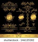 golden set calligraphic and... | Shutterstock . vector #146135282