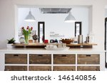 rustic kitchen interior | Shutterstock . vector #146140856