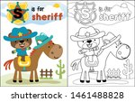 cute sheriff cartoon on funny... | Shutterstock .eps vector #1461488828