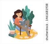young woman reading book on... | Shutterstock .eps vector #1461681938