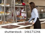 business woman take cafeteria... | Shutterstock . vector #146171246