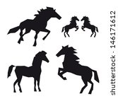 set of horses isolated on a... | Shutterstock .eps vector #146171612