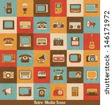 retro style media icons  ...