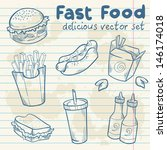 fastfood delicious hand drawn... | Shutterstock .eps vector #146174018
