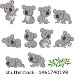 collection of happy koala with... | Shutterstock .eps vector #1461740198
