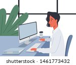 young businessman working on... | Shutterstock .eps vector #1461773432