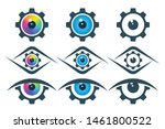 gear icons with eyeball on...   Shutterstock .eps vector #1461800522