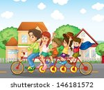 illustration of a family biking ... | Shutterstock .eps vector #146181572
