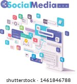 vector mobile social media ... | Shutterstock .eps vector #1461846788