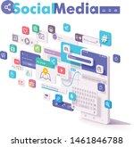 vector mobile social media ... | Shutterstock .eps vector #1461846788
