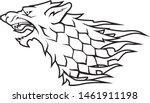 Direwolf Head White Symbol, Abstract Line Art