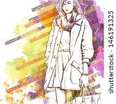 hand drawn watercolor... | Shutterstock .eps vector #146191325