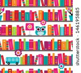 seamless book shelve and... | Shutterstock .eps vector #146195885
