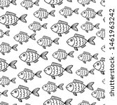 Seamless Fish Pattern Black...