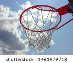 Red Basketball Hoop With White...