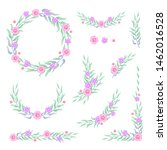 floral multicolored frame... | Shutterstock .eps vector #1462016528
