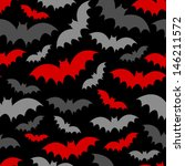 red and grey bat seamless pattern on black - stock vector