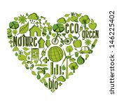 trendy heart with environmental ... | Shutterstock . vector #146225402